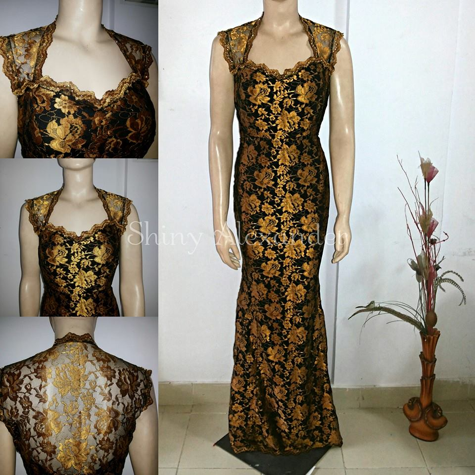 Black and gold lace gown_