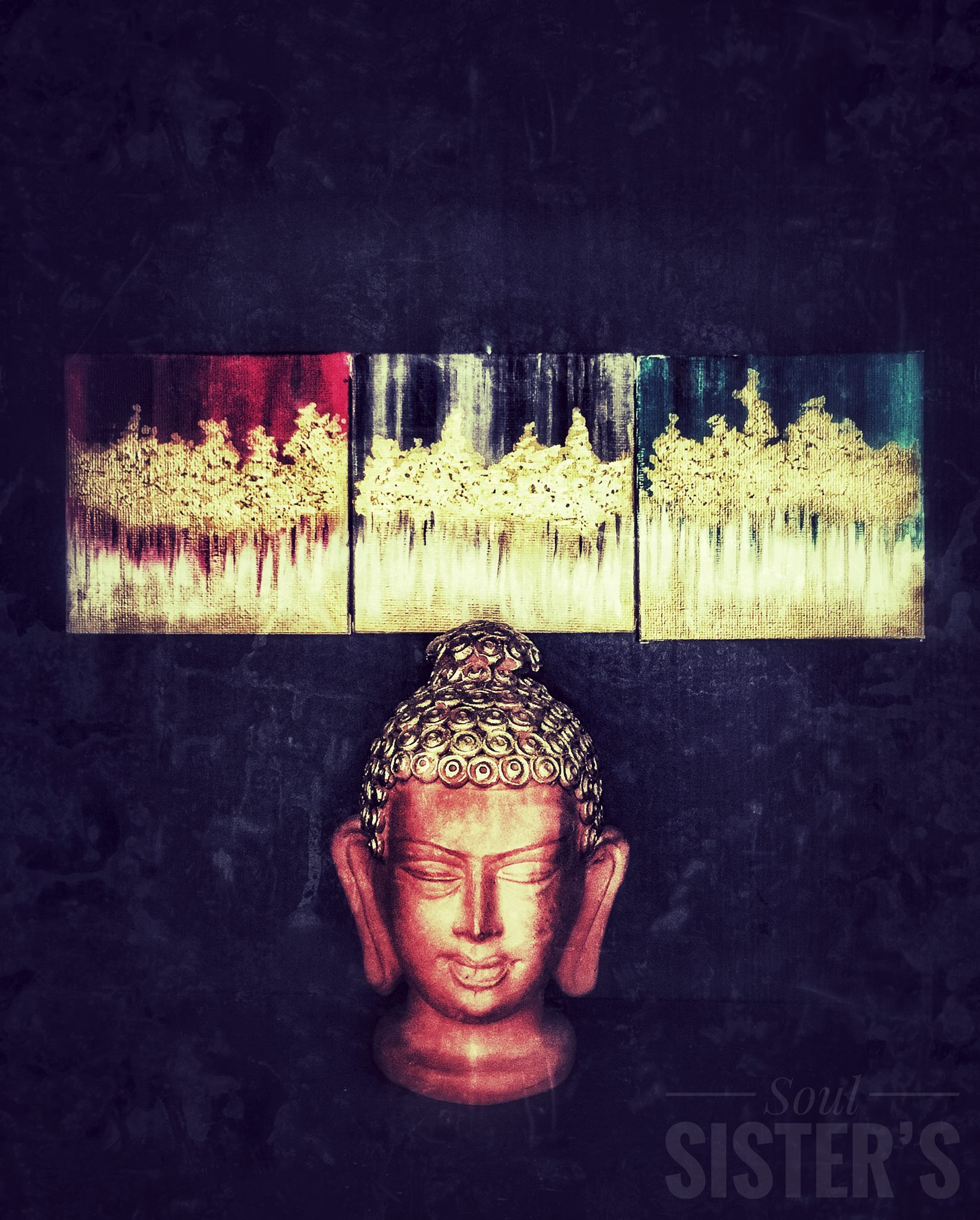 miniature gold foil painting we created up as a back drop for the BUDDHA !!