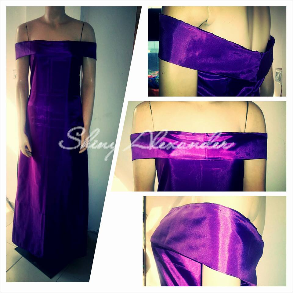 Satin off shoulder bridesmaids gown_