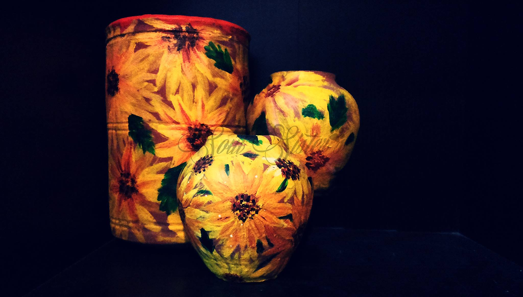 sunflower themed home decor hand painted pots