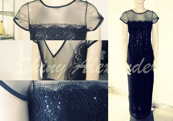 customised sequened lace evening gown