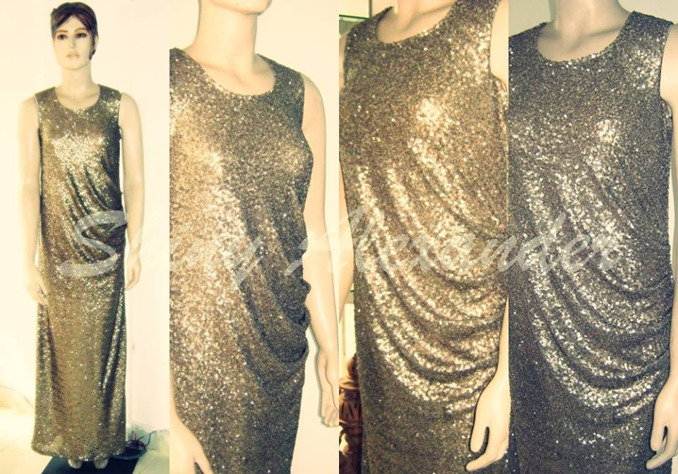 drape sequened evening gown