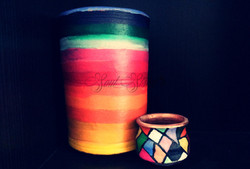 Multi-colored hand painted home decor pots