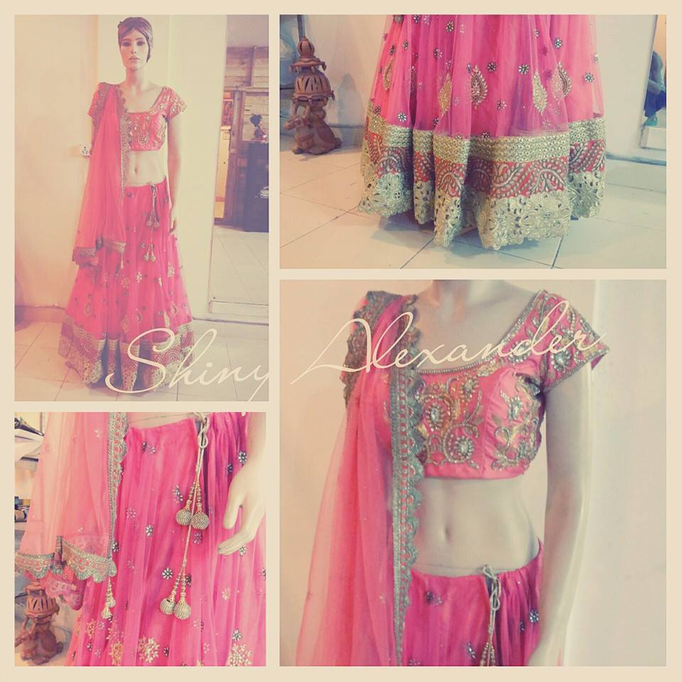 58_Customised Wedding lehenga in net and raw silk