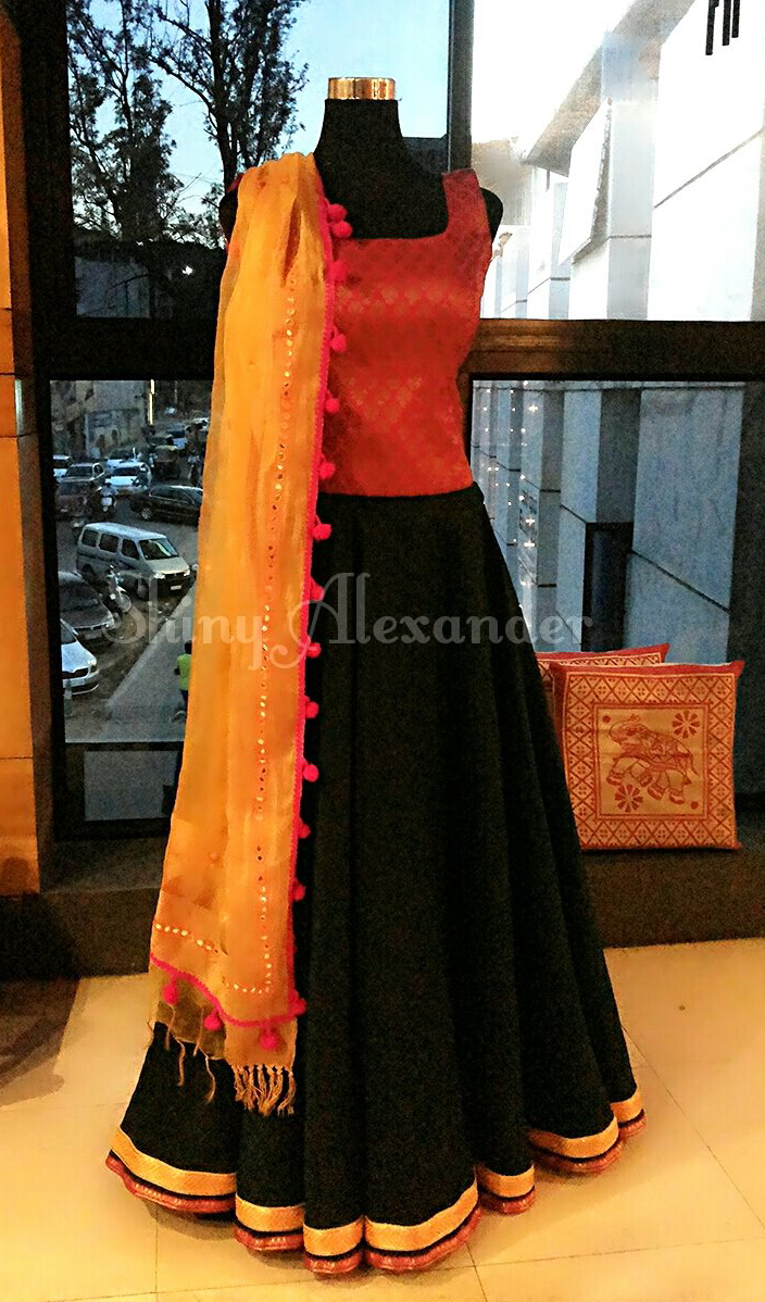 Customized corset lehenga in cotton silk and brocade