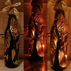 cherry blossom hand painted home decor bottle lamp