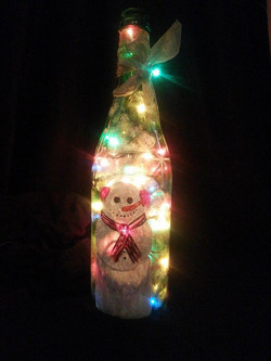 Christmas themed rice little hand painted bottle_
