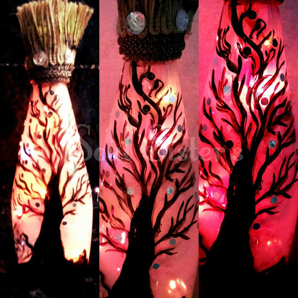 hand painted  home decor  bottle lamp_