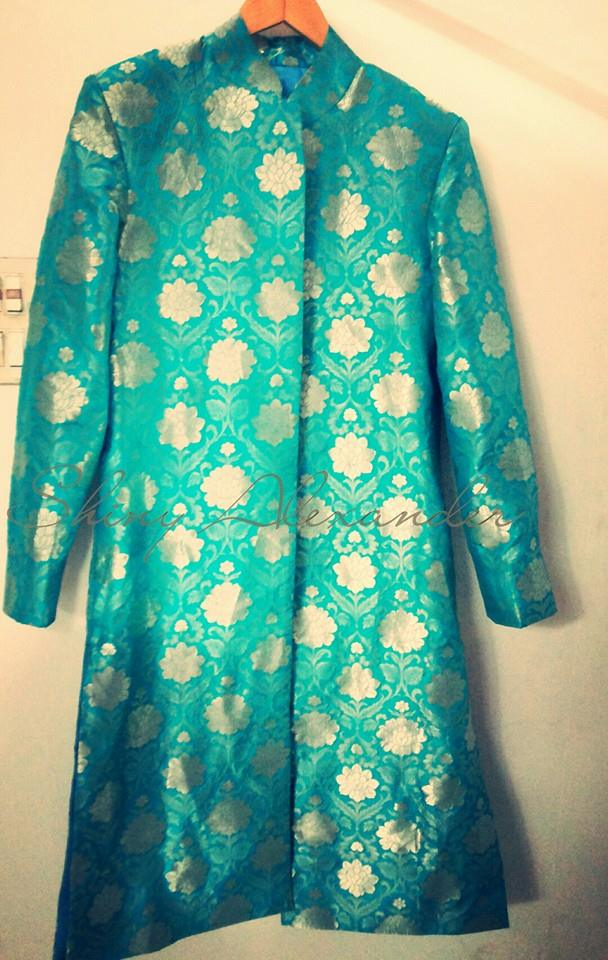 60_Banaras brocade sherwani made to orde