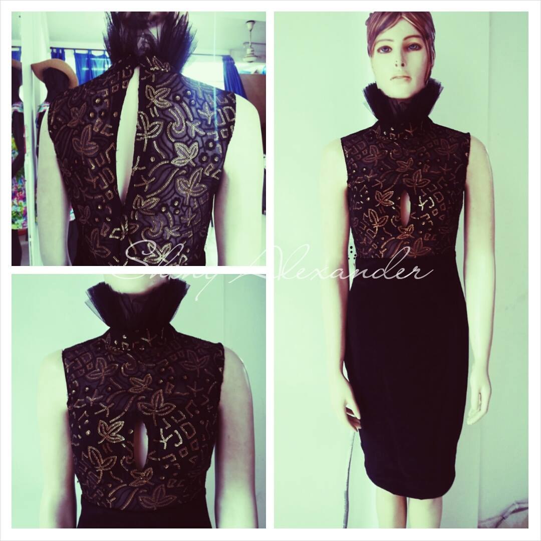 Customised sequined velvet dress_