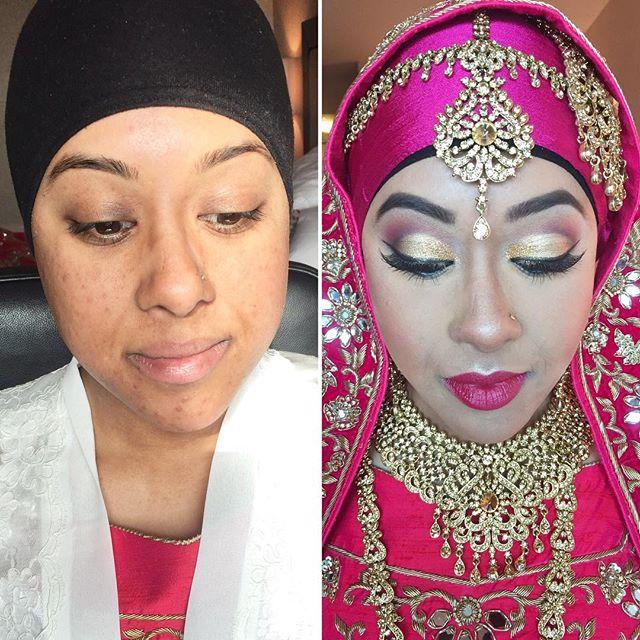 What a #BeautifulBride! #Gorgeous #HijabiBride! #MakeupByDivineBeauty #MakeupTransformation #BeforeA