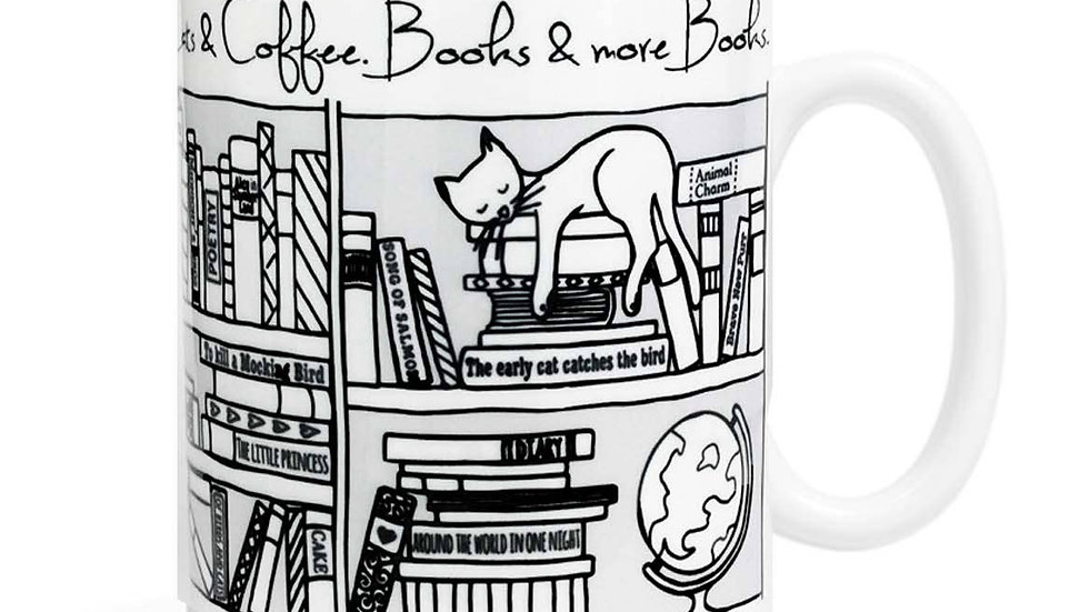 Cats Coffee Books Mug
