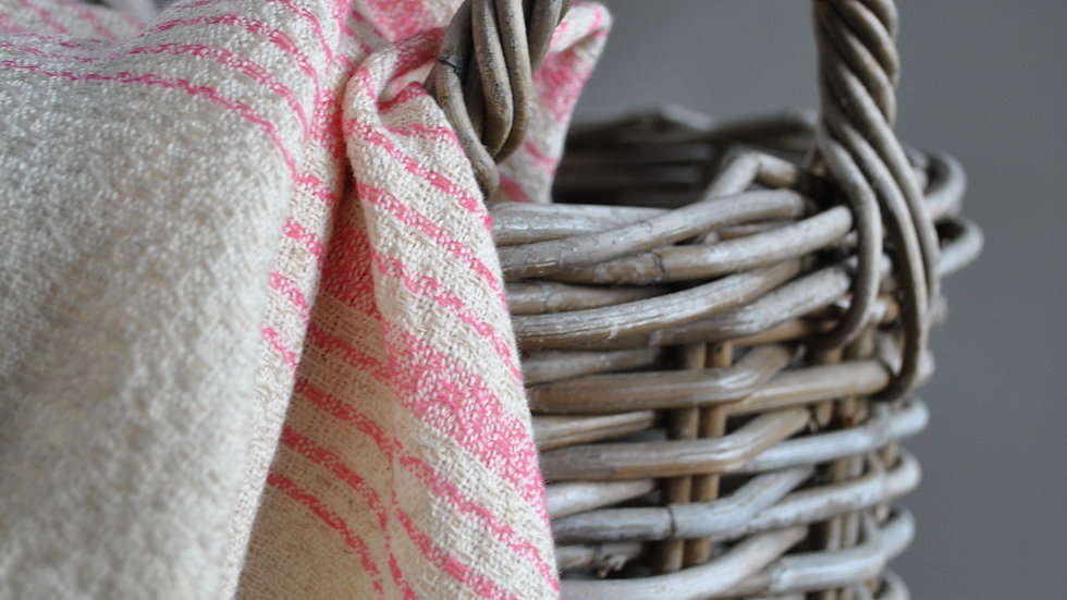 Rose Stripe Unbleached Towel