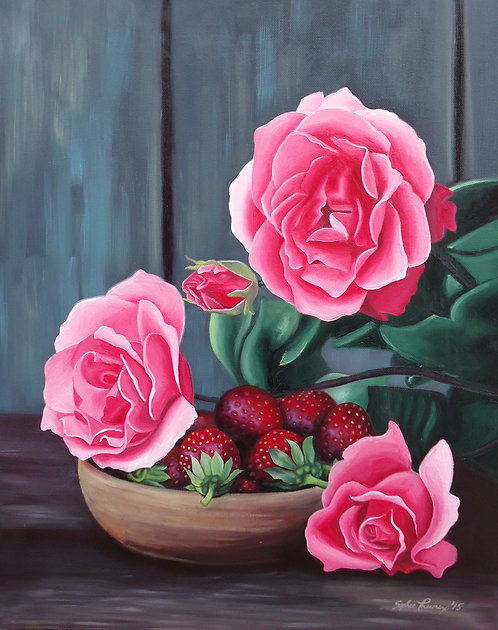 Roses and Berries Acrylic Painting