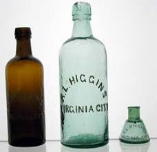 Original R.L. Higgins Bottles, Virginia City, NV