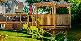 Raised backyard wooden deck and gazebo i