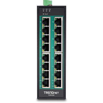 16-Port Industrial Gigabit PoE+ DIN-Rail