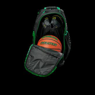 WTB18419GR_Evolution_Backpack_Green_Black_Front_Pocket_Open_Ball_Shoes.png