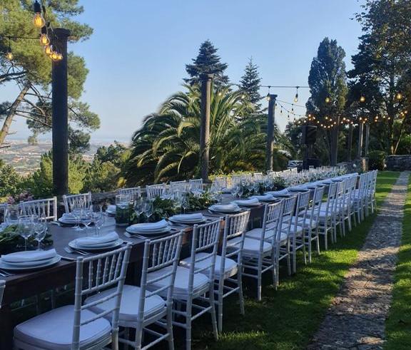 Outdoor dinner setting destination wedding Portugal