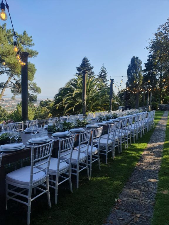 Outdoor dinner setting destination wedding Portugal