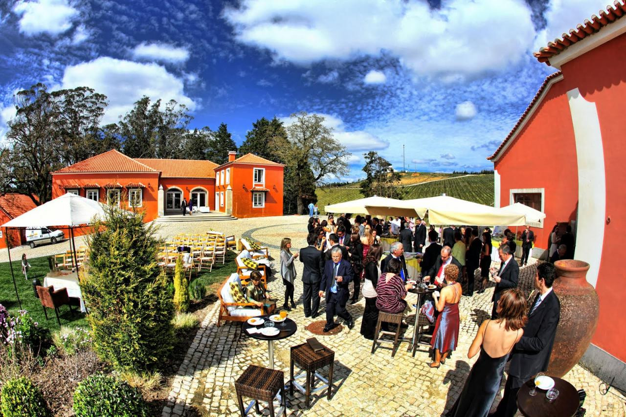 Outdoor cocktail at vineyard wedding venue