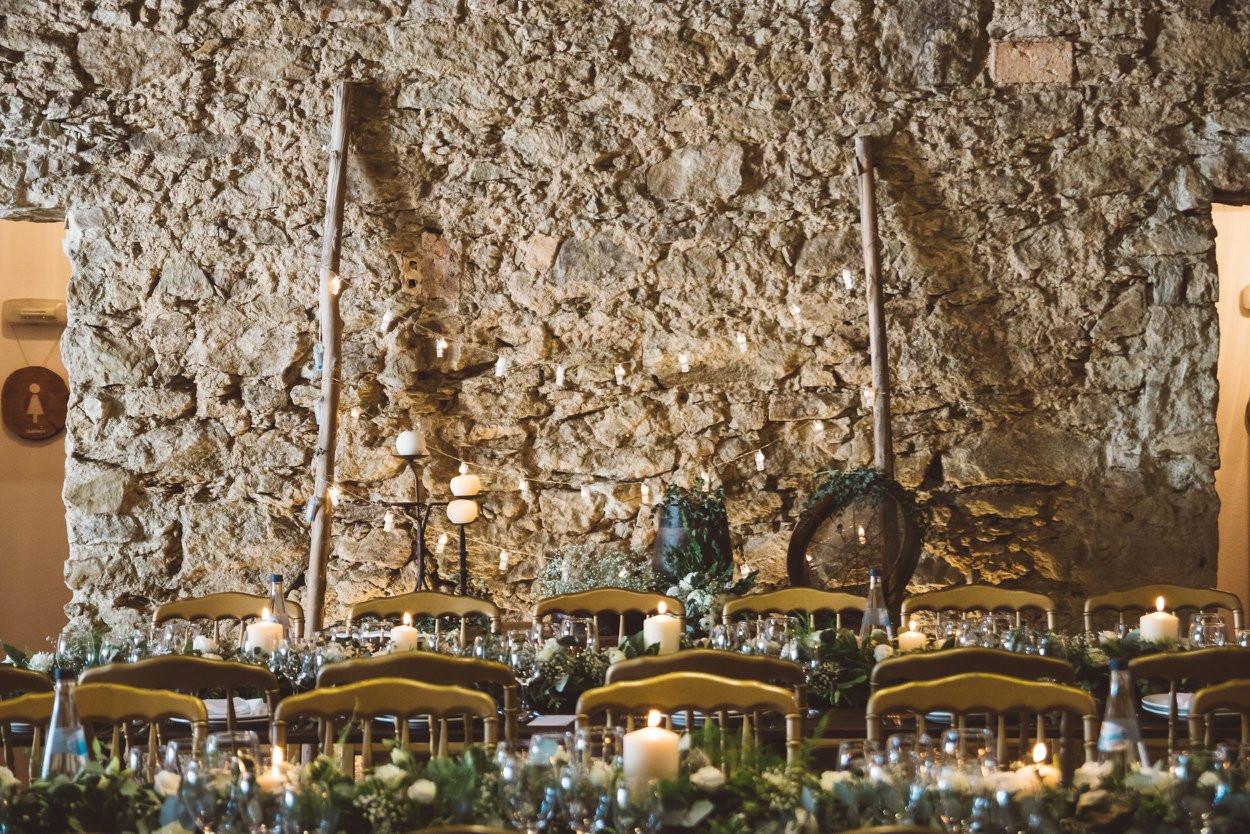 Rustic indoor wedding dinner