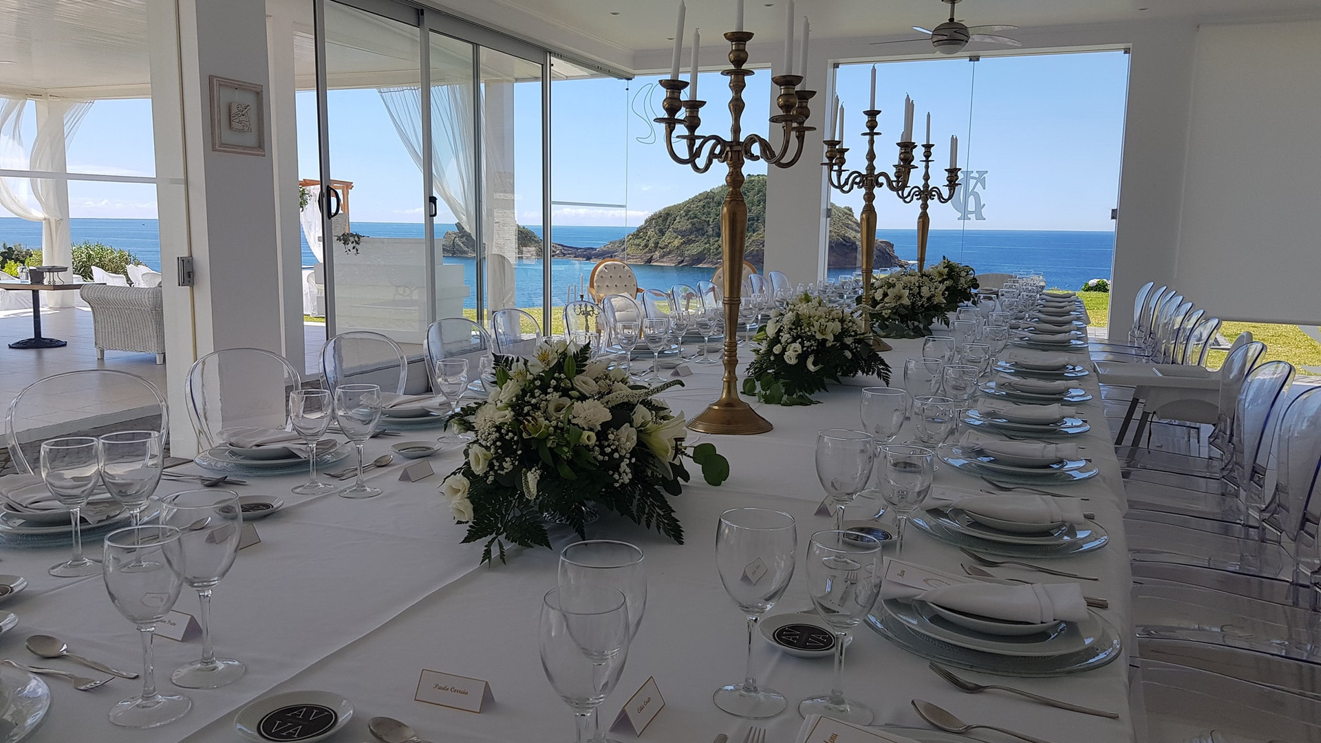 Wedding dinner setup with Atlantic seaview