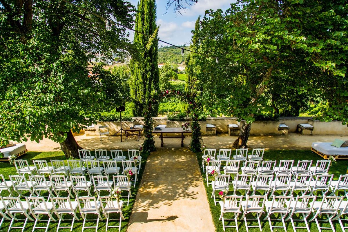 Wedding ceremony setting in garden