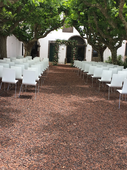 Outdoor ceremony setting at patio Azores