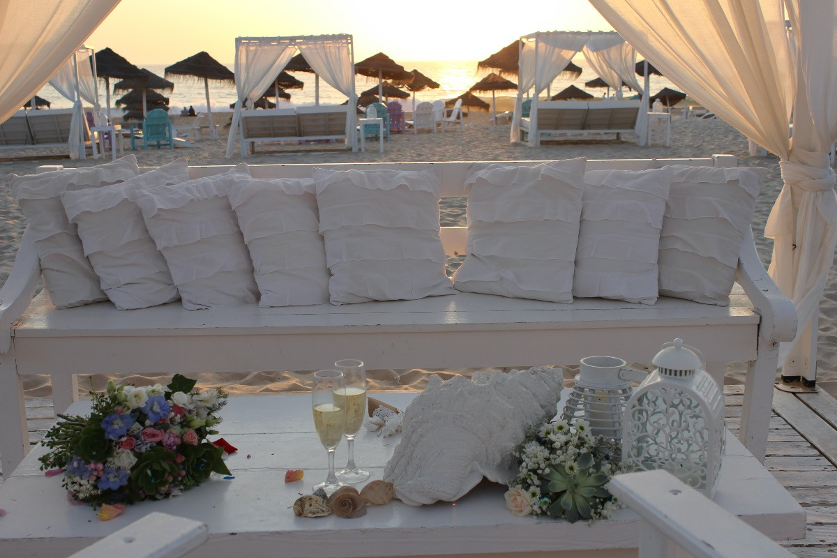 Wedding ceremony setting on the beach