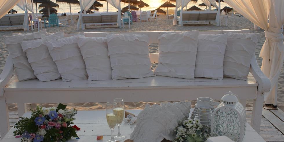 Wedding ceremony setting on the beach