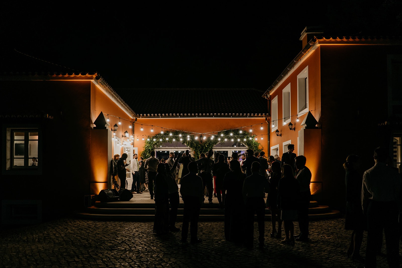 Vineyard venue in Portugal by night with fairylights