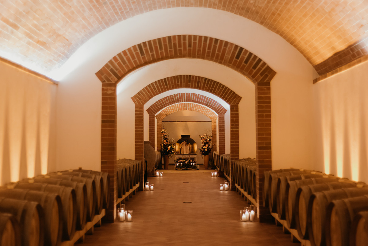 Winecellars with romantic lights