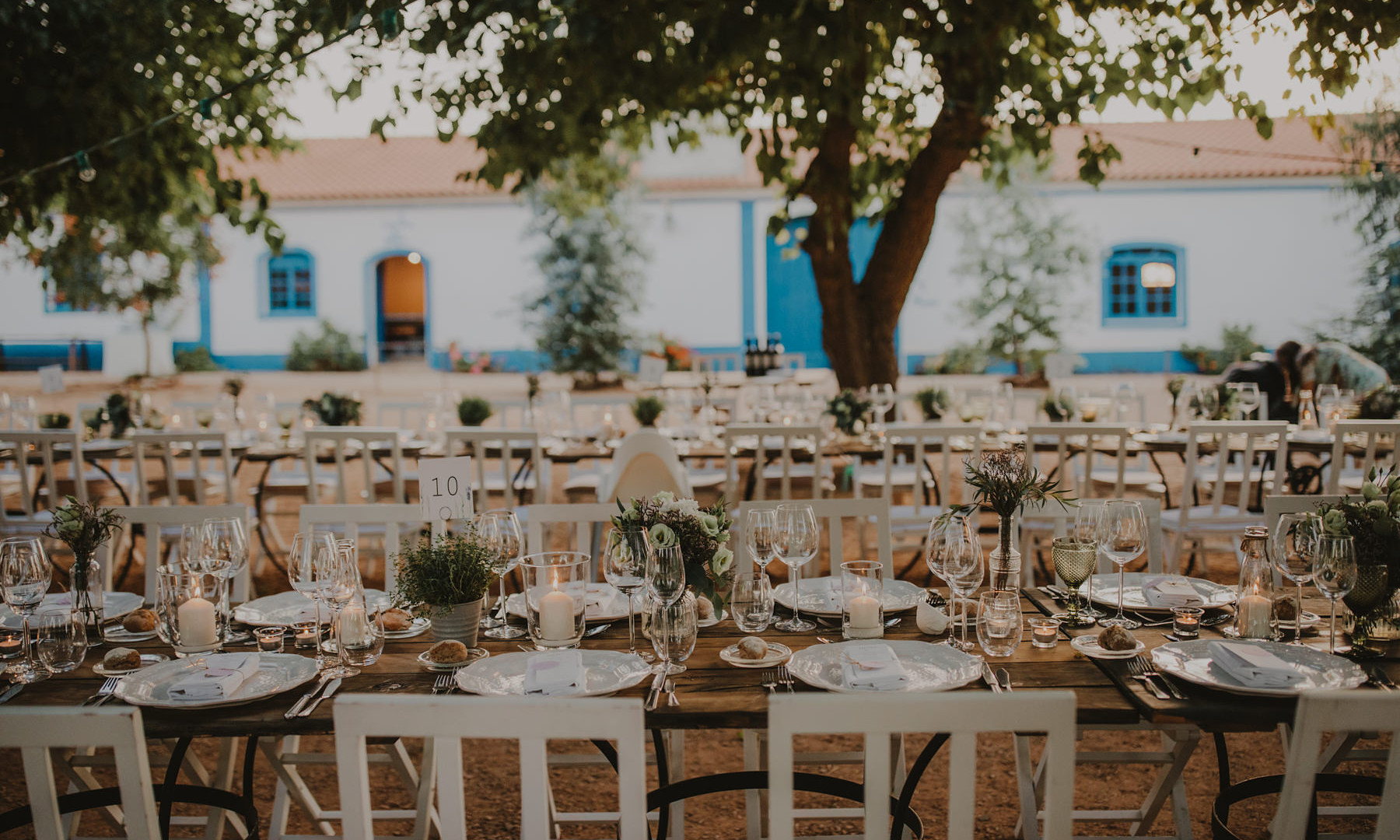 Authentic outdoor wedding dinner setting in Alentejo
