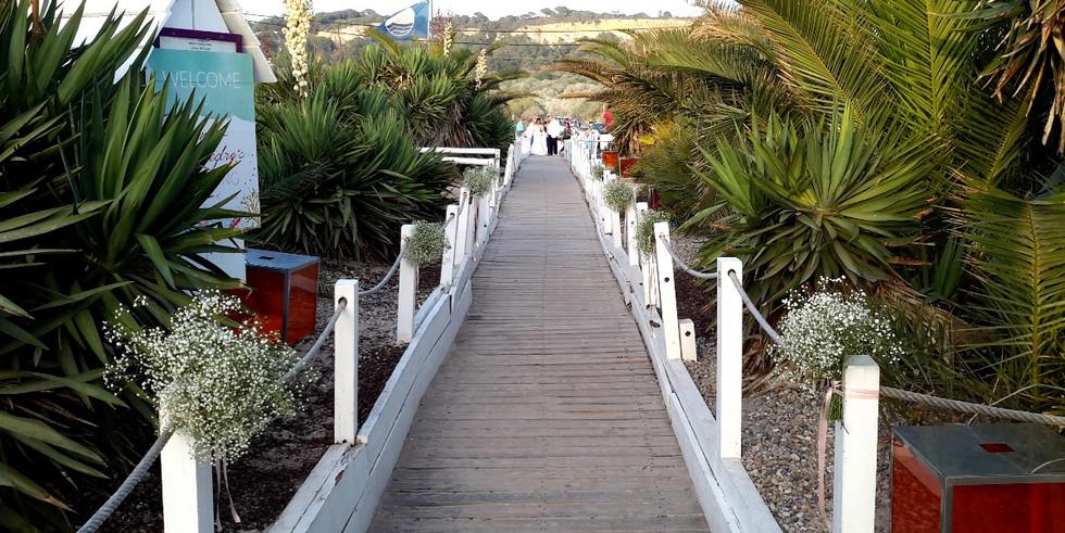 Entrance with palmtrees of beach wedding venue near Lisbon
