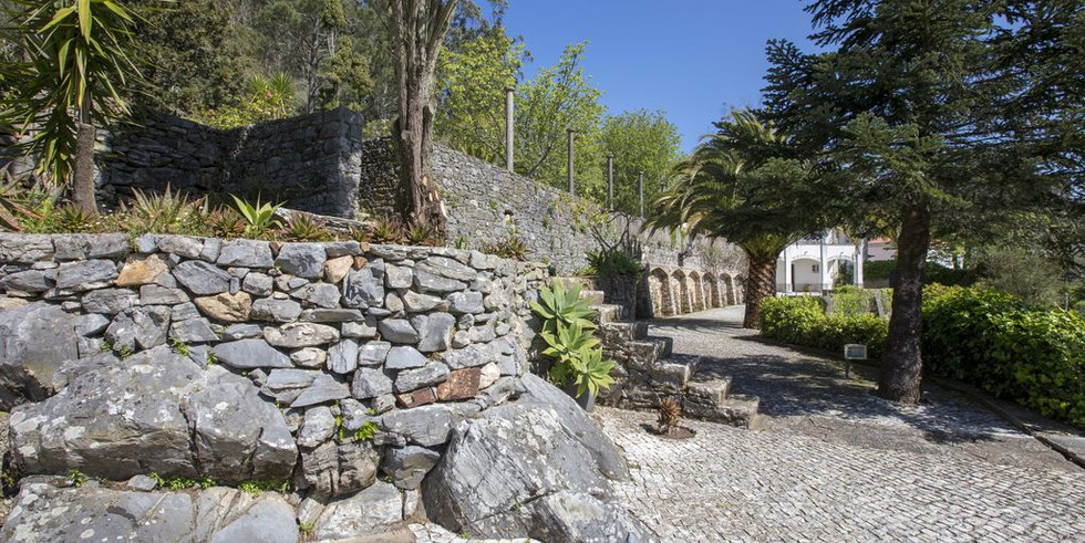 Detail of old wall in garden of a wedding venue in Sintra