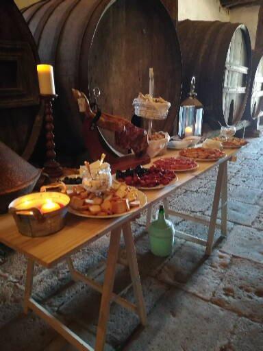 Portuguese buffet in historic Portuguese winecellars