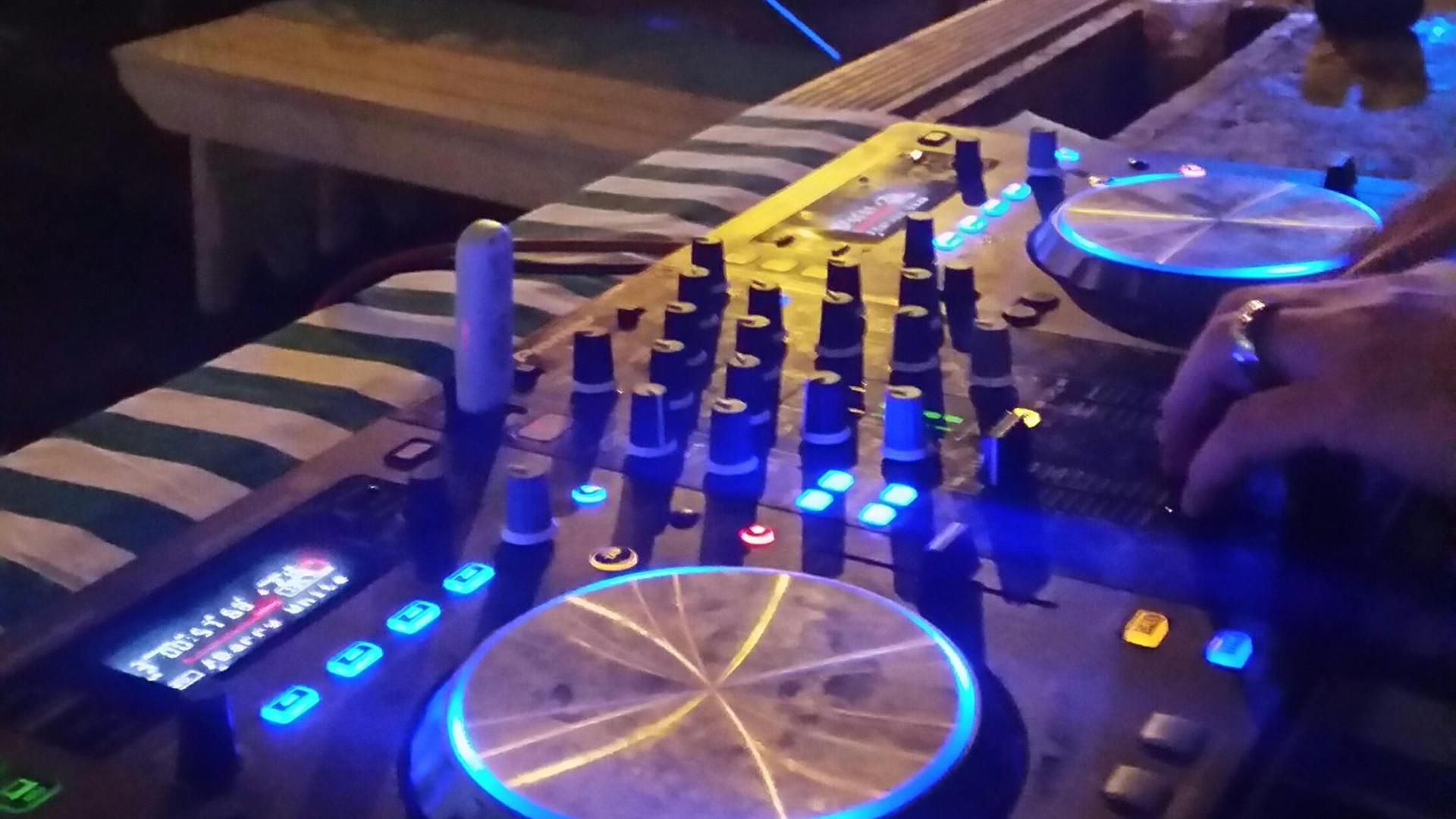 DJ mixtable during wedding party