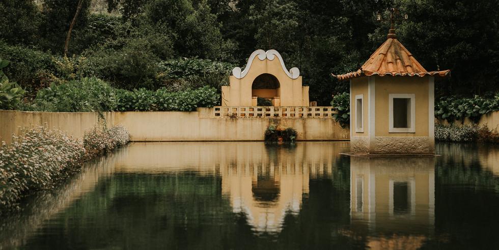 Lake in mystic garden venue in Portugal