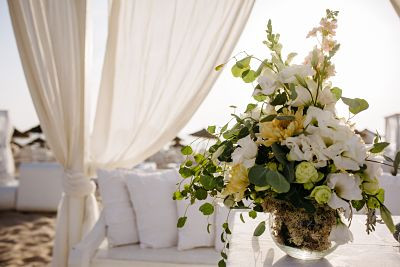 Floral decoration under gazebo for wedding ceremony