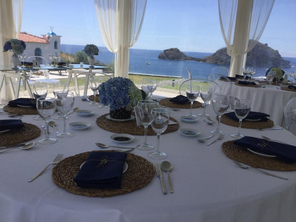 Wedding dinner indoor setup with Atlantic ocean view