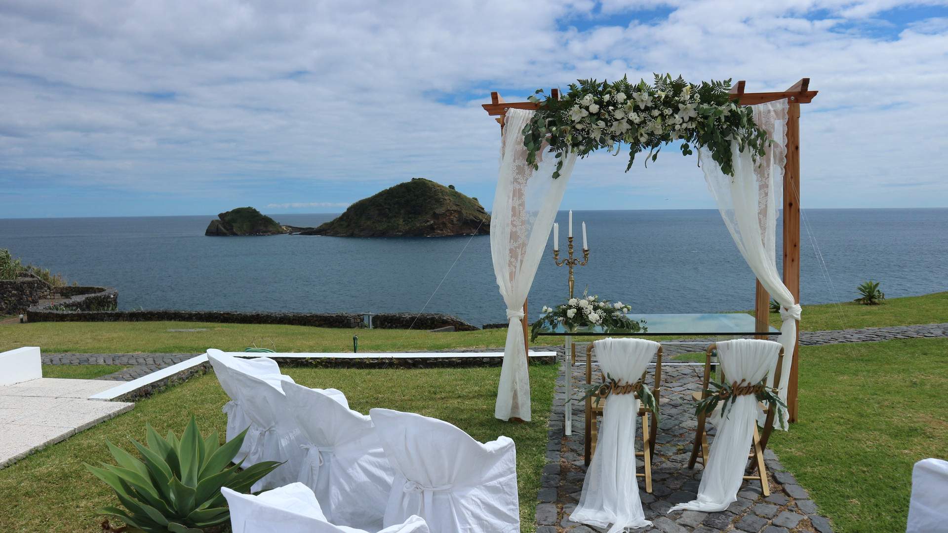 Wedding ceremony setting with view to Atlantic Ocean
