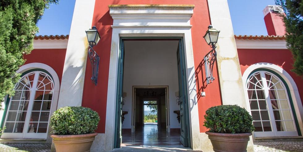 Entrance of luxury wedding venue in Portugal
