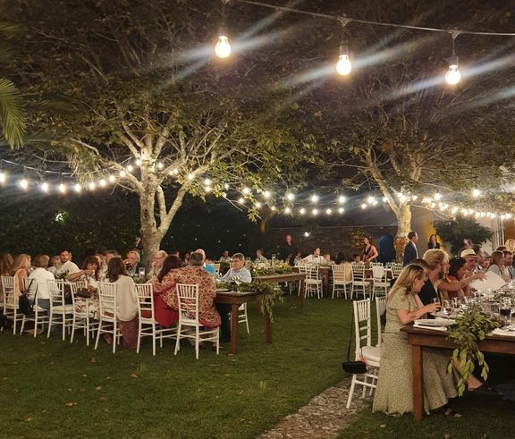 Outdoor dinner with fairylights in Sintra