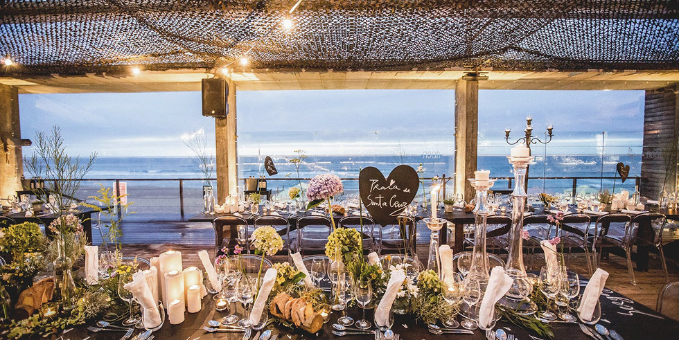 Wedding dinner at beach venue
