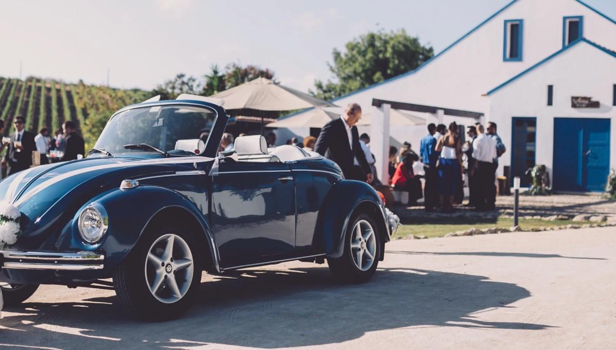 Vintage black Beatle wedding car