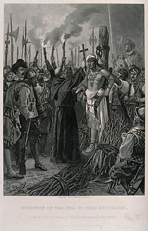 Francisco Pizarro (1475-1541) was the Spanish conqueror of Peru. Pizarro used surprise, terror and treachery to exploit the divisions among the Incas, who, at the time, were split over a disputed succession between Atahuallpa and his half-brother, Huescar. On Pizarro's orders the Spaniards suddenly fell on the Incas. Atahuallpa was released, so that he could kill Huescar, then imprisoned again. In 1533, after becoming a Christian, Atahuallpa was strangled and burned Publication/Creation New York : Henry J. Johnson. Physical description 1 print : line engraving, with stipple and etching ; image 18.4 x 13.7 cm Contributors Chappel, Edouard, 1859- C. A. Lettering Execution of the Inca of Peru by Pizarro from the original painting by Chappel in the possession of the publisher Reference Wellcome Library no. 43585i