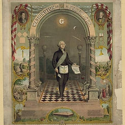 George Washington as a Freemason. George Washington was a Freemason. He became a Master Mason c. 1753. This image of him in Freemason garb and in a Masonic temple was rendered in 1866.
