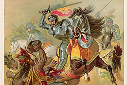 Hernando Cortes, the Spaniard, and Conquistador, is slaying an Aztec Indian with a sword as his soldiers fight with him, and the Indians are dying bloody, being cut down with the Spaniards' swords, spears, and halbeards.