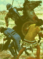A Spanish Conquistador Killing Two Central American Indians. The Spaniards were Indian Slayers and Searchers of Treasure for the Spanish Crown.
